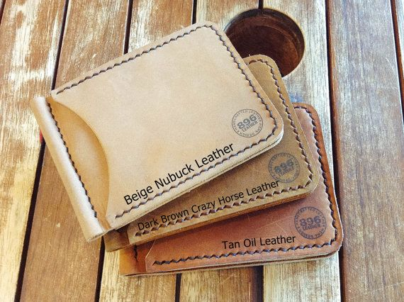2 Card Slots Tan Oil Leather Money Clip Wallet by 896LeatherShop