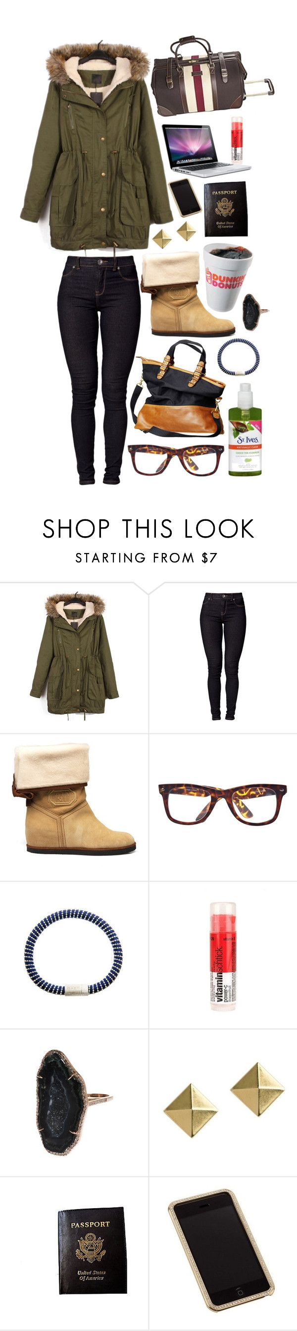 """Winter Travelling"" by brooklynrebelle ❤ liked on Polyvore featuring Dr. Denim, Anna Sui, H&M, River Island, St. Ives, Carolina Bucci, Urban Outfitters, Kimberly McDonald, H! by Henry Holland and Passport"