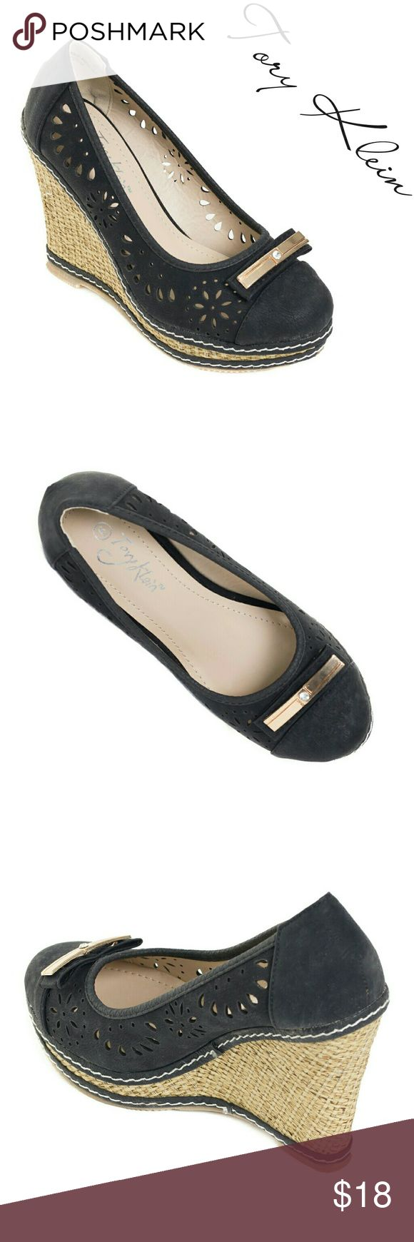 "Women Wedge Espadrilles with Bow, HW-1677, Black Brand new Tory K woman perforated black espadrilles in PU leather with a flat bow buckle in the front. Platform measures about 4"". Cushioned sole adds to the comfort. Very festive summer shoe! A true statement in ladies shoes fashion! Tory K Shoes Espadrilles"
