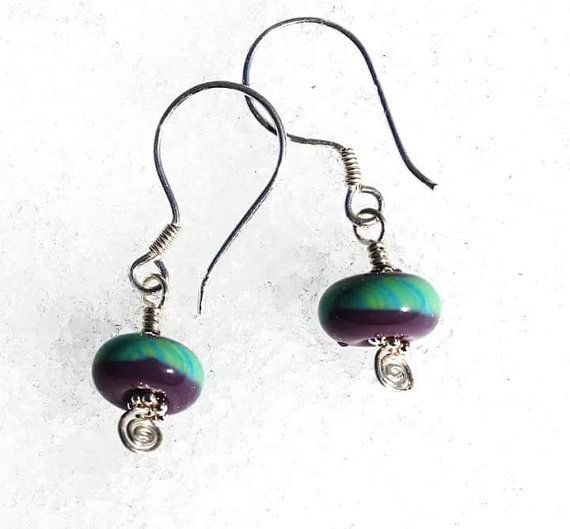 Motley Hues Earrings, Lampwork Glass Bead Earrings, Purple and Green Earrings, Artisan Glass Jewelry, Colorful Jewelry, Handmade Glass Beads