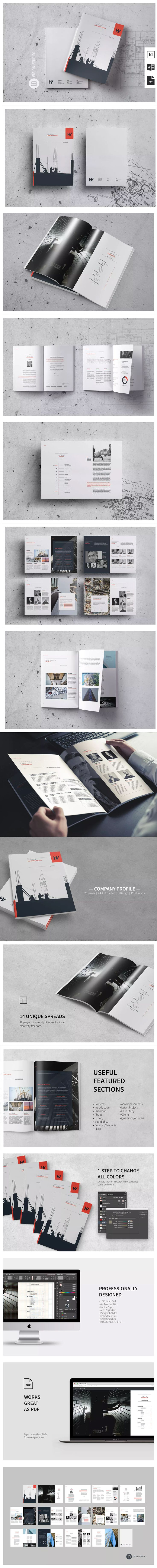 Company Profile Template InDesign INDD  - A4 and US Letter Size