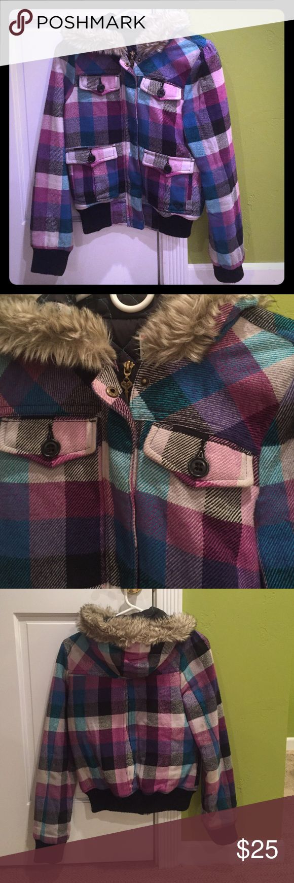 Plaid bomber jacket Plaid multi-colour zip up bomber; navy inside lining with heart pattern; fur hood; four front pockets Roxy Jackets & Coats