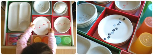 Chores for smaller children are a lot easier to complete on their own, if you create kid-friendly storage solutions. Dedicate a drawer, low cupboard or basket in your kitchen for their dishes.
