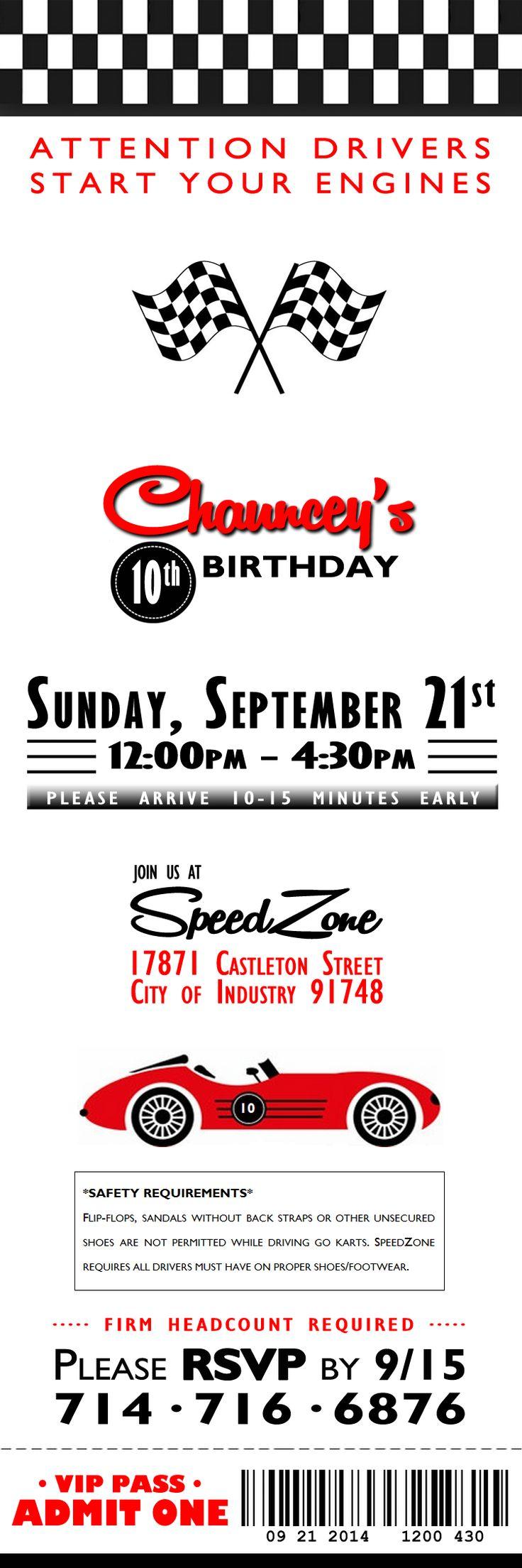 September 2014: Racecar-Theme/Ticket-Style Birthday Invites