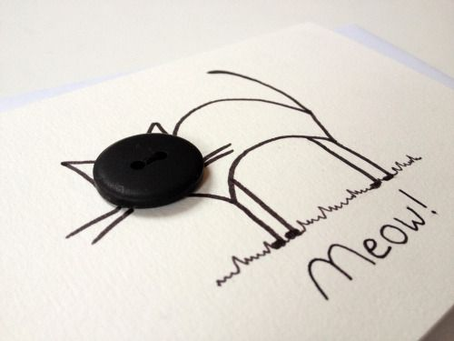 black cat, handmade gift card with button