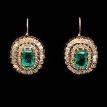 """Антикварные серьги с бриллиантами, алмазами, изумрудами. - Антикварные украшения и ювелирные изделия - Антикварный салон """"Серебряный ряд"""""""