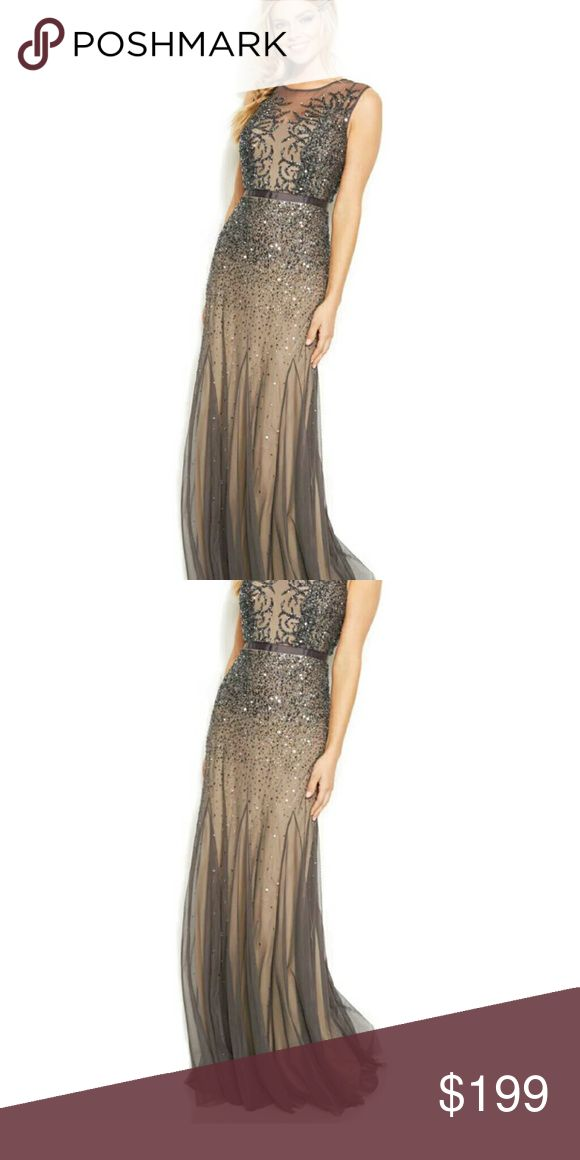 Adrianna Papell Evening Dress Gown New with tags Store display Gunmetal Adrianna Papell Dresses Prom