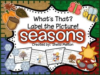 Kids love labeling pictures! This unit includes 20 label the picture printables all about the four seasons! It includes pictures with seasonal clothing, activities and what an apple tree looks like during each of the seasons. Some ideas for these include: writing station activity, morning work, small group practice,  early finishers, independent practice.