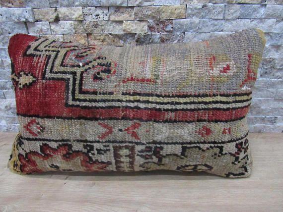 Kilim Pillow Cover 12x20 Turkey Lumbar Pillow Aztec Pillow
