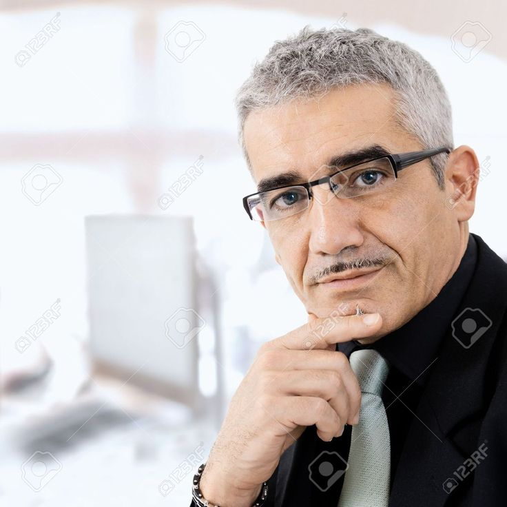 Mature Gray Haired Creative Looking Businessman Thinking. Stock ...