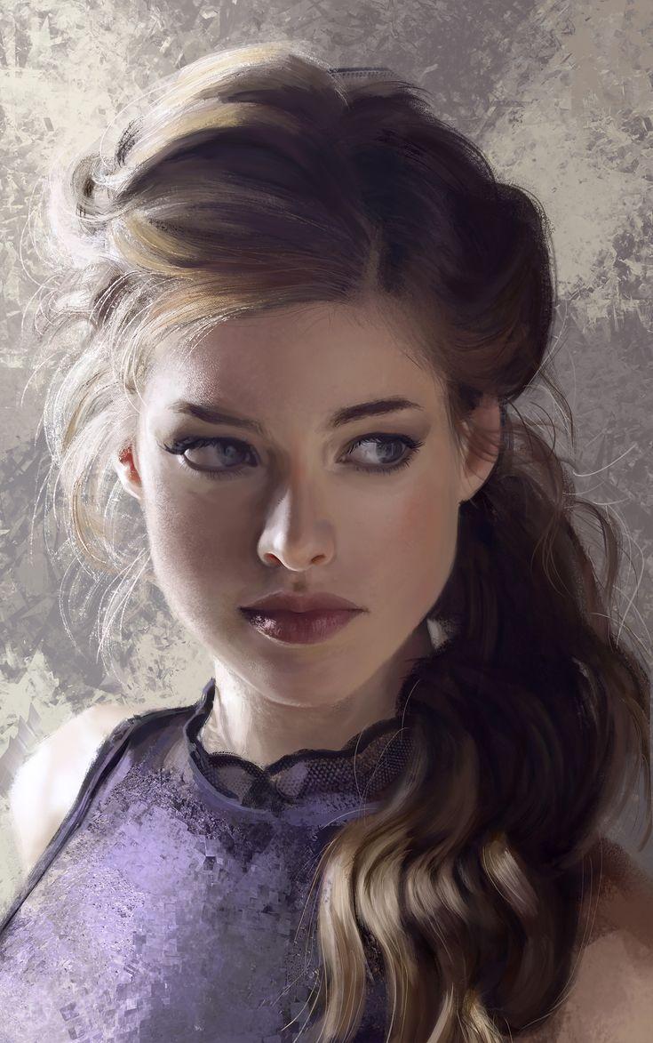 """Portrait Practice"" - Mandy Jurgens {figurative realism art beautiful female head young woman face digital painting #2good2btrue}"