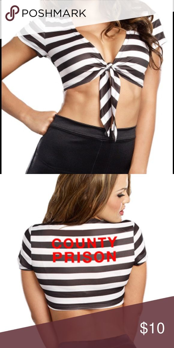 """🔐 Sexy Naughty Inmate Costume Top •EXCELLENT CONDITION• WORN ONCE• You'll be doing the Jailhouse Rock in this Sexy Jailbird costume/ role play top featuring black and white stripes, tie front, cap sleeves and """"County Prison"""" screen print back. (Shorts not included.)  •Fabric• 100% Polyester• Size• S/M •OFFERS WELCOME• Dream Girl Tops Crop Tops"""