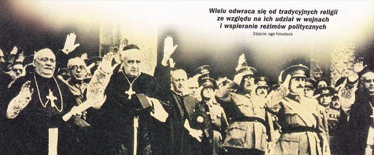 """Masy ludzkie rozczarowały się, widząc rolę, jaką religia odegrała podczas pierwszej wojny światowej. Wzrosła liczba ateistów i komunistów, określających religię mianem """"opium dla ludu"""". Niemniej duchowieństwo dalej mieszało się do polityki i wspierało takich faszystowskich dyktatorów, jak Mussolini i Franco. A w roku 1933 kościół rzymskokatolicki zawarł konkordat także z nazistowskimi Niemcami."""