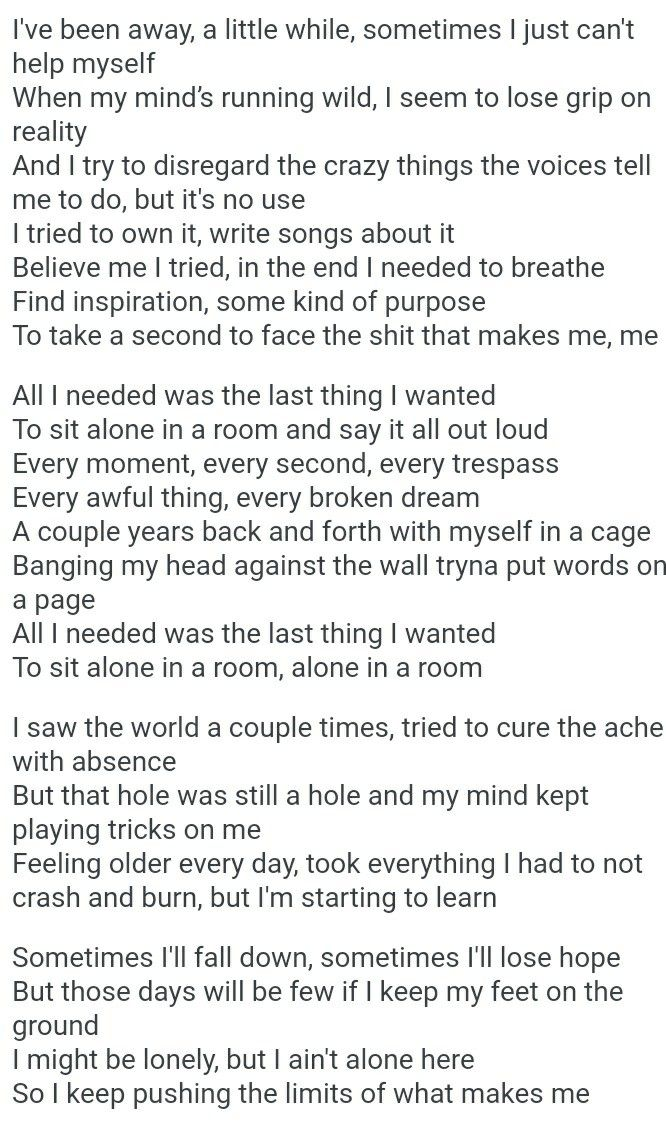 The Lyrics Kinda Hit Me Asking Alexandria Alone In A Room With