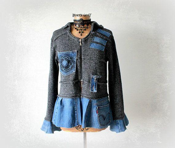 Grey Sweater Coat Upcycle Denim Jacket by BrokenGhostClothing