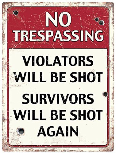 """""""No Trespassing"""" fun tinplate wall sign. 300mm x 400mm. Perfect for decorative indoor use. Red Hot Lemon http://www.amazon.co.uk/dp/B00TFYWI7A/ref=cm_sw_r_pi_dp_1zK2ub0KFJEWC"""