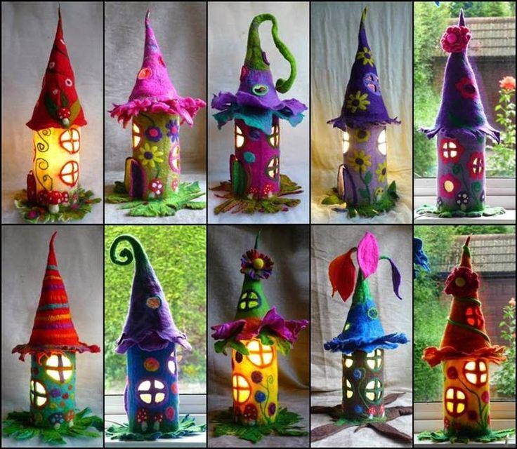 Rolos de papel higiênico reaproveitados, feltro e muita criatividade! Assim foram feitas essas casas de fadas que são também luminárias. Á ...