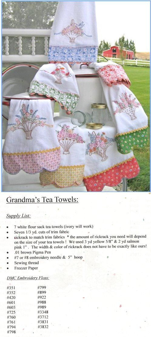 Embroidery Patterns - Erica's Craft & Sewing Center ~ Grandma's Tea Towels Pattern---Seven (of course!) vintage style baskets to embroider, with easy directions for both the scalloped & straight borders. Add some rickrack & they'll look just like the ones that were in Grandma's hope chest! Pattern will work with any size tea towel. $10.00