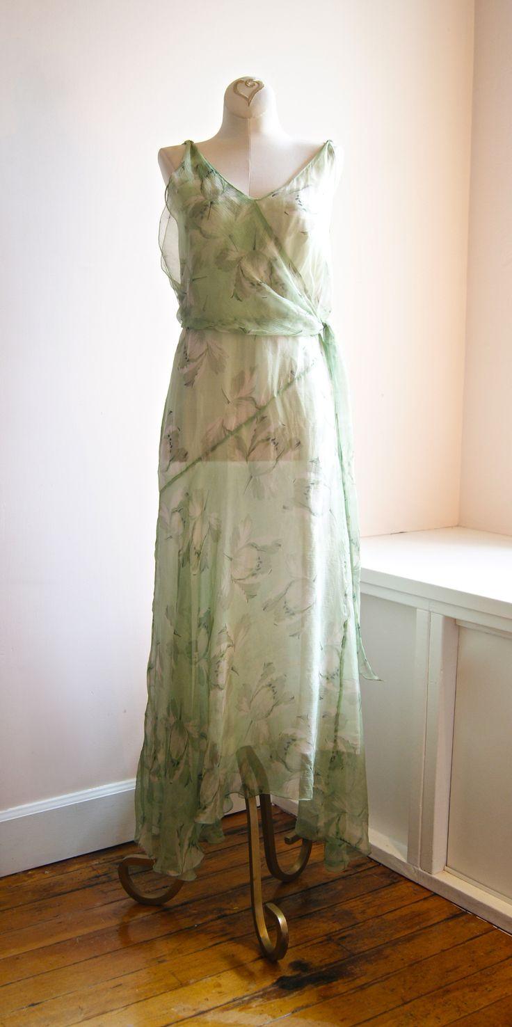 1930 39 S Silk Chiffon Garden Party Dress Antique Lace