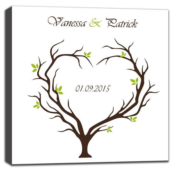 Leinwand als Gästebuch mit grünem Baum als originelle Alternative zum klassischen Gästebuch. Diese tolle bedruckte Leinwand wird mit Name und Datum personalisiert.