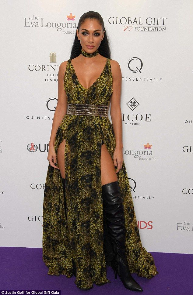Sexy: Nicole Scherzinger, 38, changed into a racy, eye-catching green dress for The Global Gift Gala in partnership with Quintessentially following the talent show