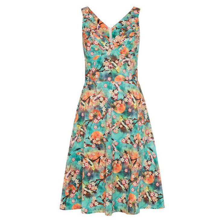 Voodoo Vixen Swing Lizabeth zomer jurk met vogels en bloemen print mul