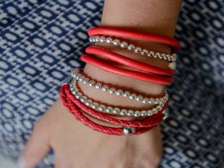 Red and Silver Bracelet Combo.