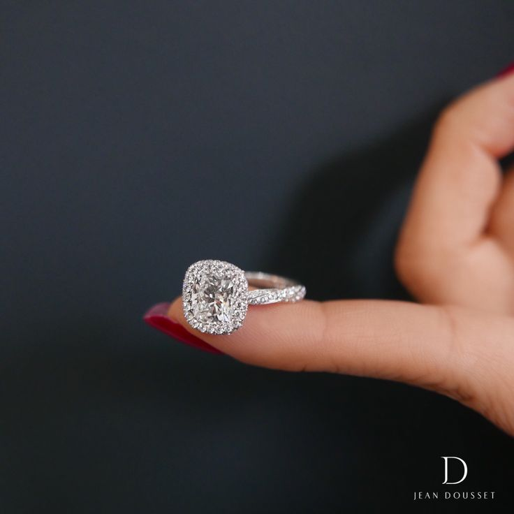PIROUETTE SEAMLESS HALO unique diamond engagement ring, set with a 1.80 carat cushion cut diamond. Jean Dousset's Seamless Halo designs are handcrafted around the precise measurement of the center stone without prongs, highlighting the true beauty of the diamond. Available in rose gold, yellow gold, white gold and platinum, exclusively through Jean Dousset.