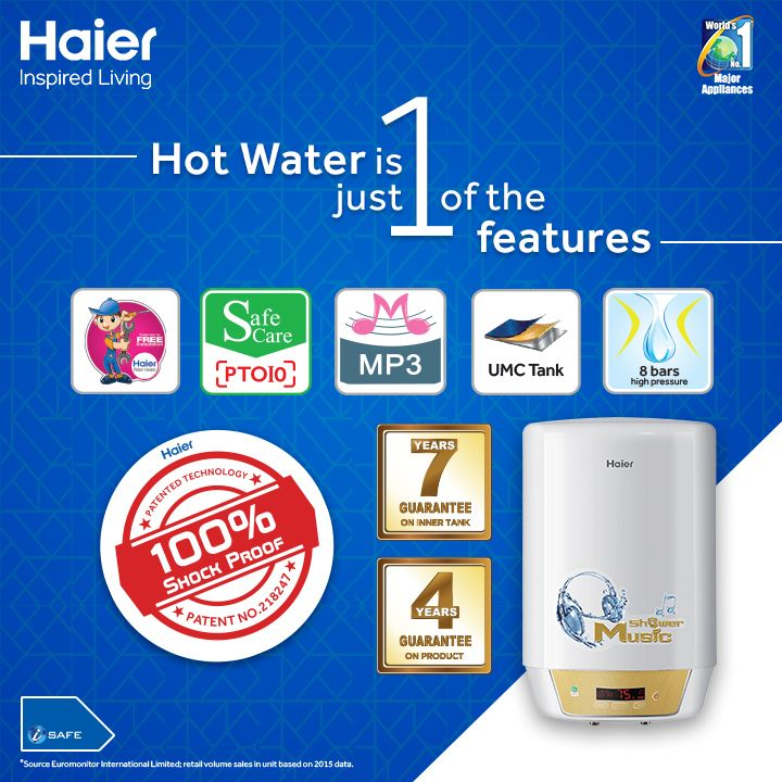 Haier #WaterHeaters come with plenty of features keeping your safety, convenience and quality in mind. Hot water is just one of the features. #HaierIndia #Technology #InspiredLiving #Innovation  #Lifestyle #WaterHeater
