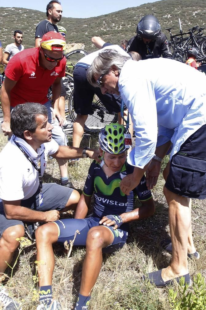 Vuelta a España 2014 - Stage 11: Pamplona - San Miguel de Aralar (Navarre) 153.4km - #LaVuelta #LaVuelta2014 #Vuelta #Vuelta2014 #VueltaEspana - Nairo Quintana (Movistar) on the ground after his second crash in as many days Photo: © Tim de Waele/TDW Sport