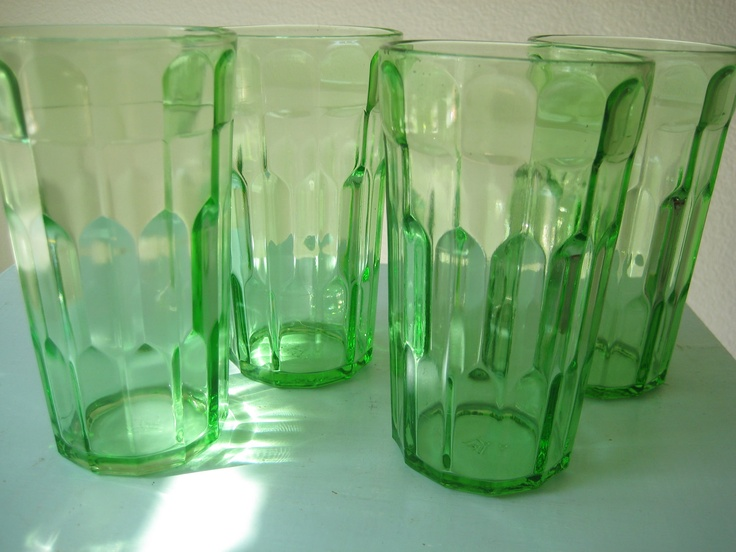 green depression glass drinking glasses