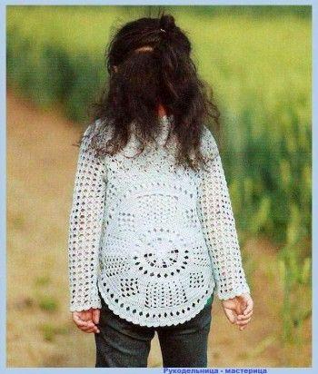 Озорные петельки: Пуловер оригинальный для девочки