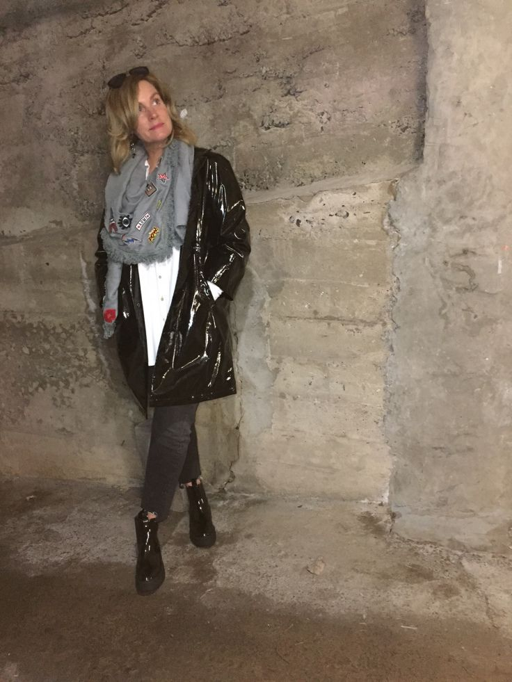 """thefwordparadox.com  Jane Post slicker, River Island patent chunky heels, Simons """"patch"""" scarf Canadian Blogger"""