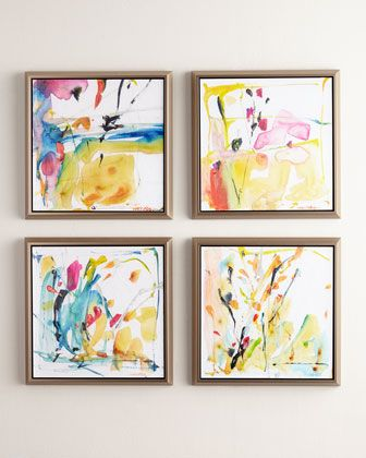 """Handcrafted giclees. In floater frames. Each, 27""""Sq. x 2""""D. Set of four assorted images, as shown. Made in the USA. Boxed weight, approximately 50 lbs."""