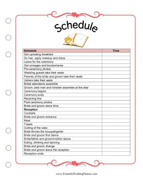 The Wedding Planner Schedule Worksheet Is A Detailed Template And Checklist For Making Sure Everything Goes Smoothly Day Of You