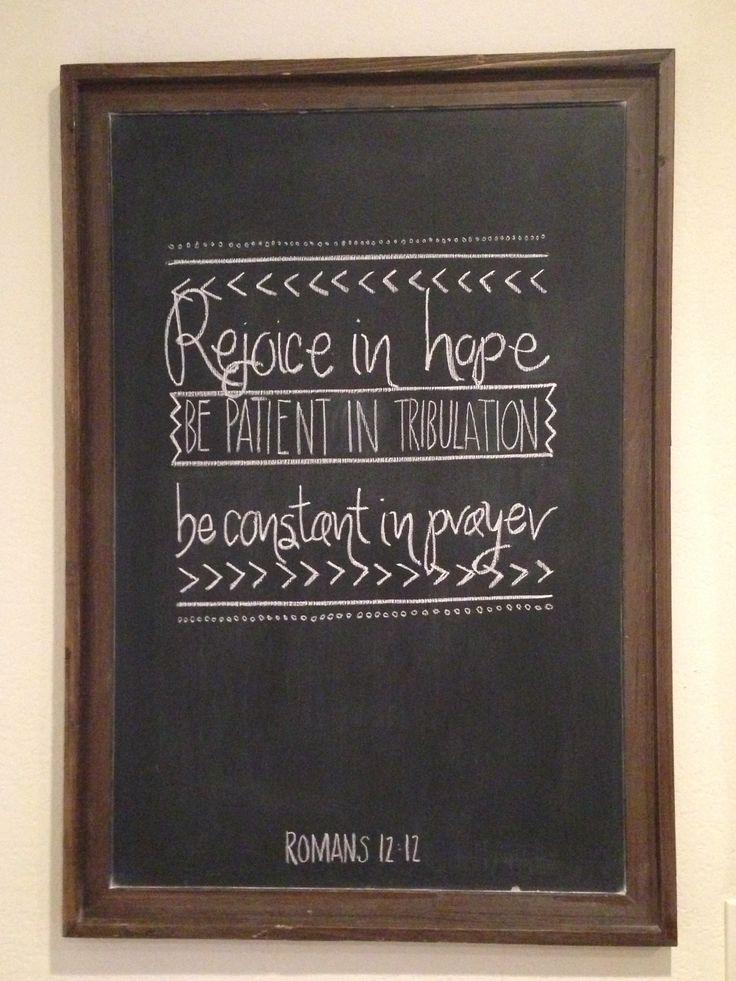 Romans 12:12 chalkboard art