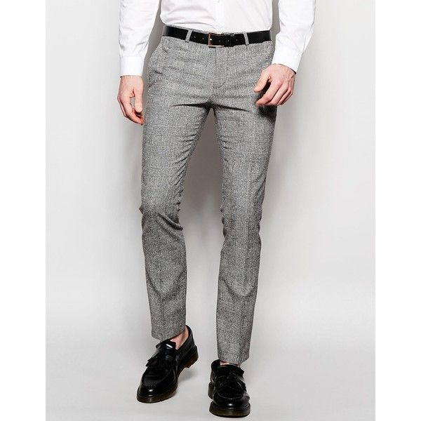 Noose & Monkey Prince of Wales Check Trousers in Super Skinny Fit (115 AUD) ❤ liked on Polyvore featuring men's fashion, men's clothing, men's pants, men's dress pants, black, mens checkered pants, mens skinny dress pants, mens skinny pants, mens skinny suit pants and tall mens dress pants