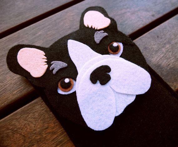 Funda iPhone Bulldog Frances-  Funda teléfono perro - Hecha a mano fieltro