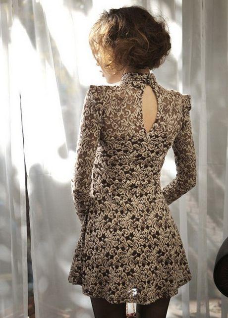 Traditional Mandarin Collar High Waist Lace Mini Dress - Coffee