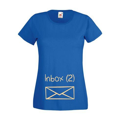 Tricou pentru mamici, cu o scrisoare in locul bebelusului si mesajul Inbox (2) pentru mamicile care asteapta bebelusi. Tricouri personalizate pentru gravide.