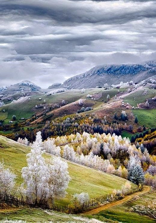 Frost settles over Pestera, Romania