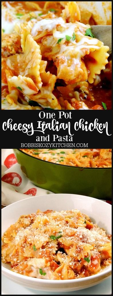 One Pot Cheesy Italian Chicken and Pasta is a quick and easy weeknight meal the whole family will love from www.bobbiskozykitchen.com