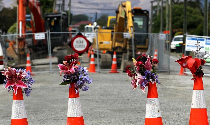 CHRISTCHURCH earthquake anniversary.  Road cone memorial