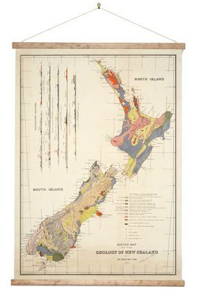 """James Hector's life's work created the """"Geological Map of NZ"""" - wall chart style canvas print of the original vintage map"""