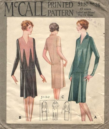 McCall 5130; ©1928. Ladies' and Misses' Slip-On Dress.