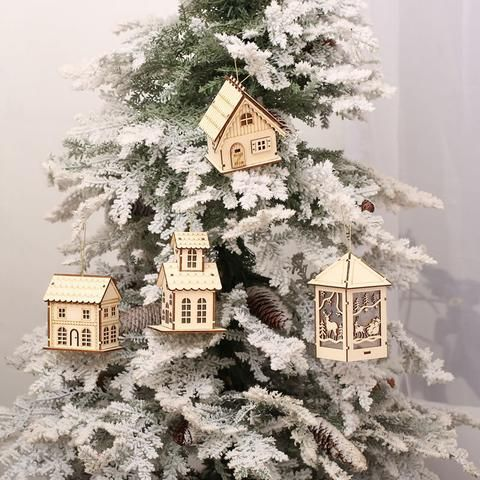2017 New Christmas Tree Decorations Mini Wooden House #christmas #homedecoration