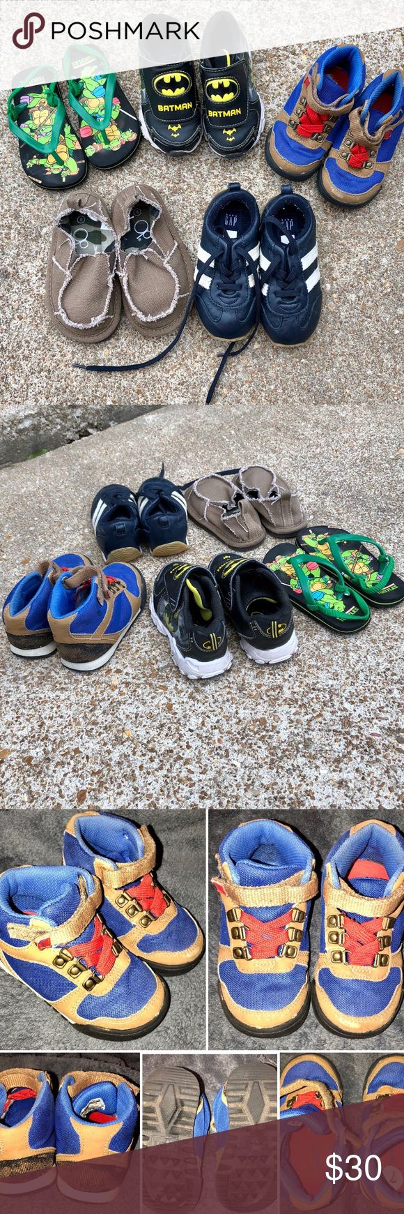 Toddler Boy Shoe Bundle *Carter's Blue, Tan, & Red Shoes: Size 7 -Okay condition! -Has some marks on the top part of Shoes (shown in pics)  *Teenage Mutant Ninja Turtle Toddler Flip Flops: Size 7/8  -Good condition!  *Baby Gap Navy Blue Toddler Sneakers: Size 9 -Good condition!  *Batman Toddler Light-Up Sneakers: Size 8 -Good condition! -Batman symbol in front of shoe lights up red!  *Op Toddler Shoes: Size 8 -Excellent condition! Shoes