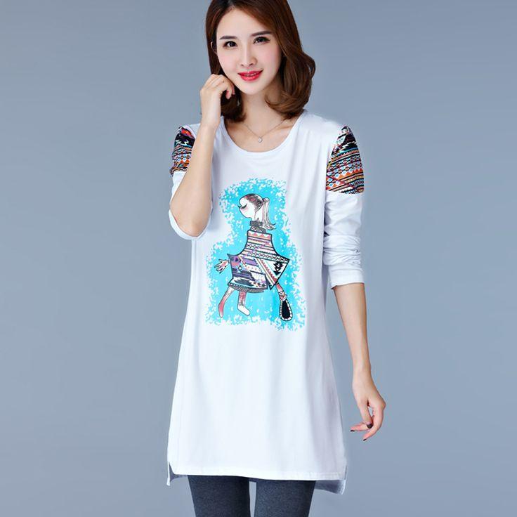 New Fashion Loose Long Print T Shirt Women Tees Women Long Sleeve White Black Tops T-Shirts Plus Size M-5XL Woman Clothing #Affiliate