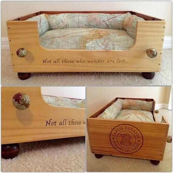 Cyber Monday vente, lit pour chien lit pour chien, caisse de vin, chat lit, lits bois, lit pour chien en bois, bois chat en bois, ped chat lit, amateur de vin