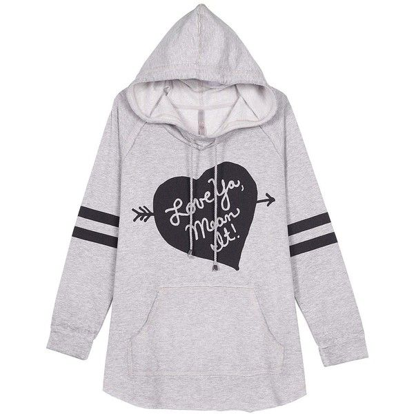 Melissa Mccarthy Seven7 Plus Graphic Heart Hoodie ($79) ❤ liked on Polyvore featuring plus size fashion, plus size clothing, plus size tops, plus size hoodies, light heather grey, plus size, long sleeve tops, plus size hoodie, hooded pullover and graphic hoodies